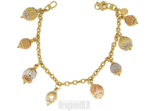 Bracciale oro donna charms (ciondoli) ultima moda SUN DAY