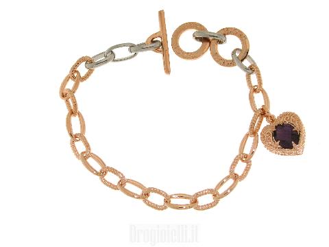 Bracciale con cuore pendente in bronzo