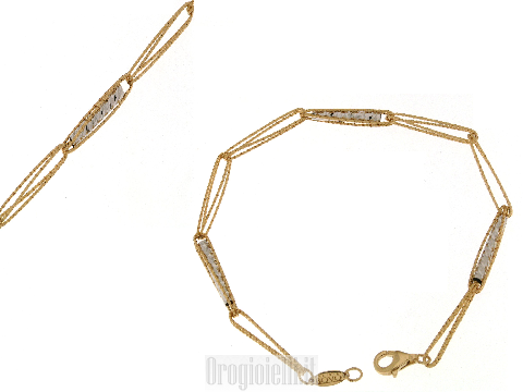 Bracciale donna oro a maglie fantasia stile moderno