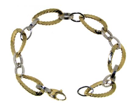 Bracciale donna a maglia bicolore oro 18 kt per charms