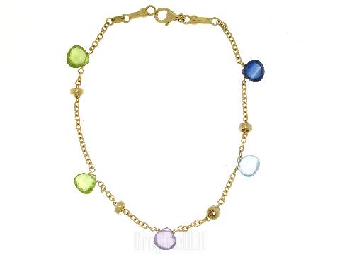 Bracciale oro donna charms pietre Tormaline