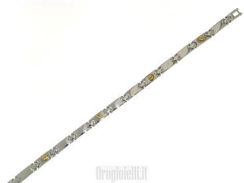 Bigiotteria Gioielli moderni per uomo Bracciale in acciaio ed oro