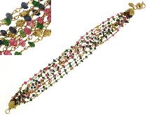Bracciale multifili rubini, smeraldi e zaffiri