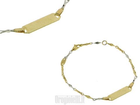 Bracciale neonato bicolore oro