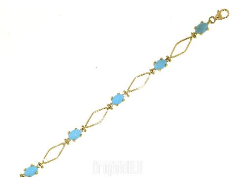 Bracciale oro e turchese 18 carati