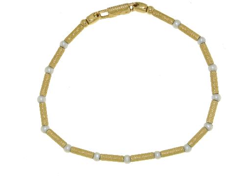 Gioiello oro 750 speciale: Bracciale perline con tubettini in oro giallo zigrinato