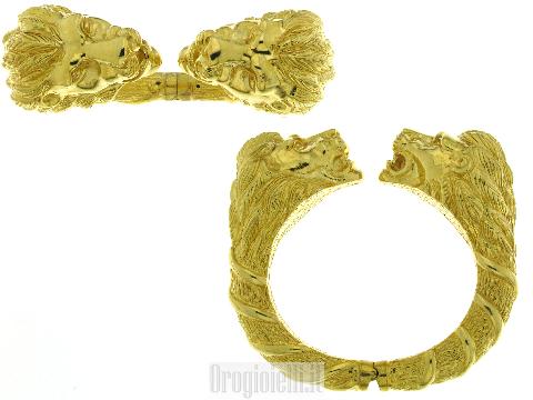 Bracciale rigido con leoni in oro 18k GIOIELLO D'ARTE