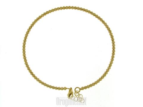 Bracciale rigido con sfere diamantate dorate