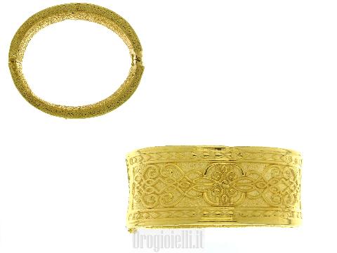 Bracciale rigido in oro giallo 18kt tipo indiano