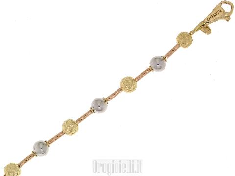 Bracciale donna oro 18 kt NOVELLO sfere tre colori diamantato