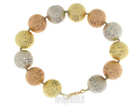 Gioiello sfera art Dèco Bracciale oro tre colori sfere grandi