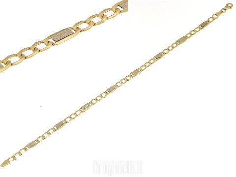 Bracciale 750 oro uomo moda maglia grumetta e inserti