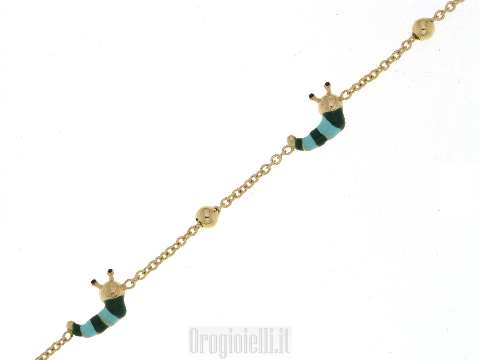 Braccialetto Alice Alex per bimbi in oro (lumache)