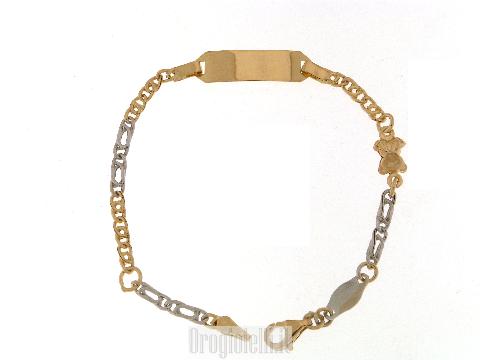 Braccialetto da bimbo con piastrino in oro 18kt