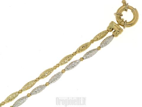 Braccialetto donna oro doppio filo diamantato