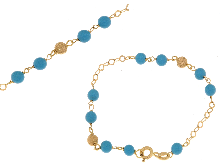 Gold Jewells: Baby bracelet with turquoise