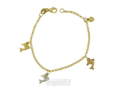 Braccialetto per bambina con ciondoli oro (CHARMS)