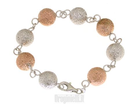 Bracciali in argento con sfere rose'
