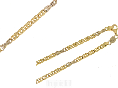 Catena bicolore in oro 18 carati