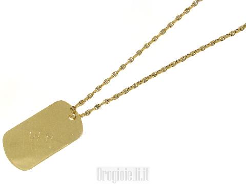 Catena oro uomo targhetta militare con incisione