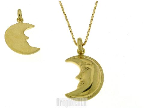 Catenina con mezza luna in oro giallo lucido