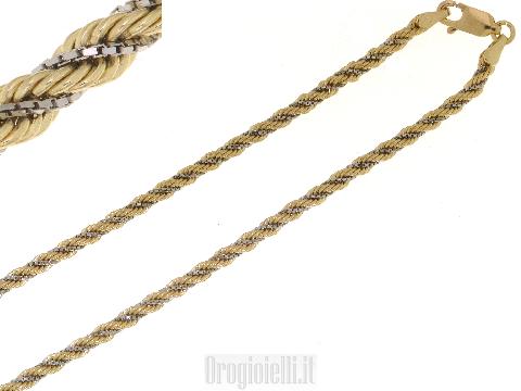 Catenina corda bicolore in oro 18 kt