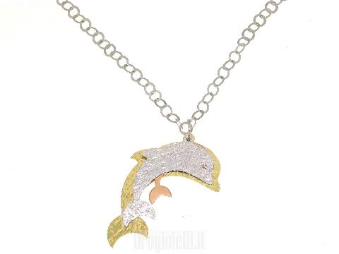 Catenina in argento e delfini