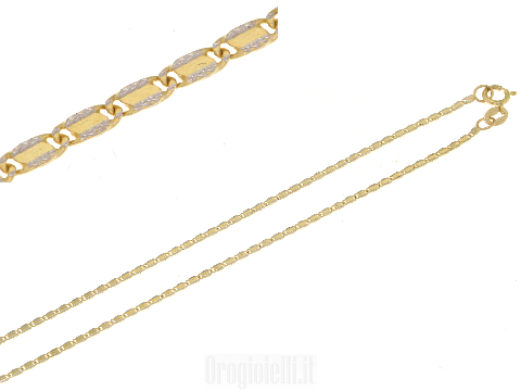 Catenina piatta bicolore oro 18kt (750)