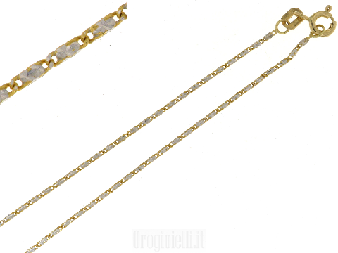 Catenina piatta bicolore oro 18kt