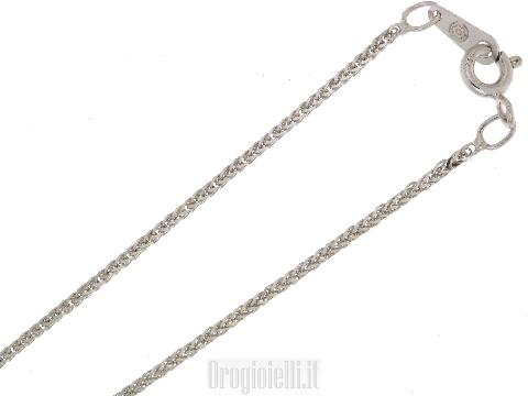 Catenina spiga diamantata in oro bianco
