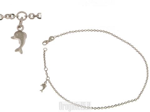 Cavigliera in oro bianco 18 carati (kt) con pendente