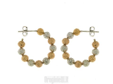 Orecchini Cerchi in oro rosa diamantato 18 kt