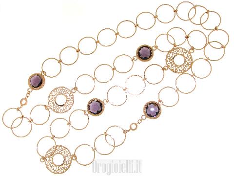 Chanel con pietre colorate in bronzo
