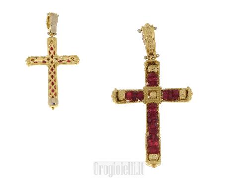 Ciondoli a forma di croce con rubini
