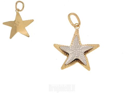 Ciondolino a stella marina in oro giallo
