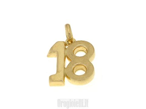 Ciondolo 18 anni in oro giallo 18ct