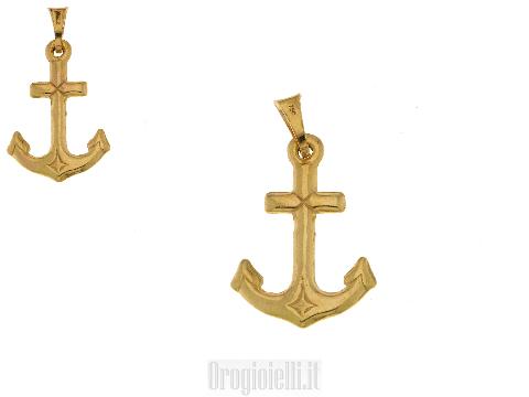 Ciondolo Ancora Marina in oro giallo 18 carati