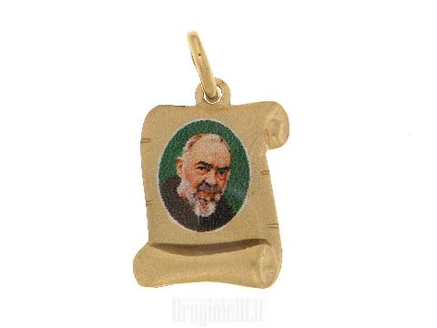 Ciondolo Padre Pio in oro giallo 18ct