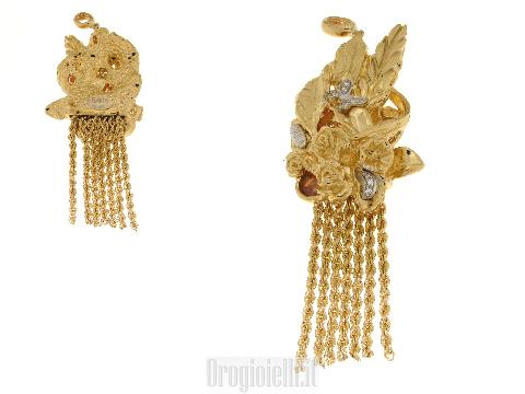 Gioielli lusso oro donna - Ciondolo RAIKA grande in oro e pietre