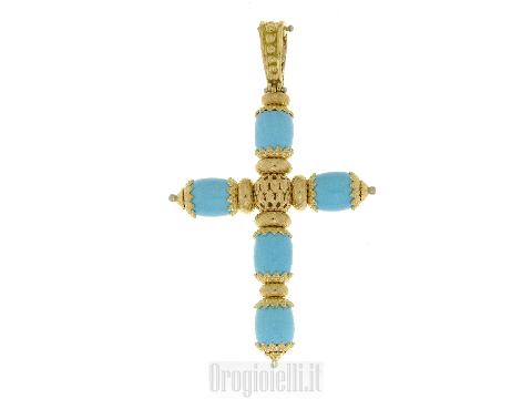 Gioiello design Barocco Ciondolo a croce con turchese in oro giallo