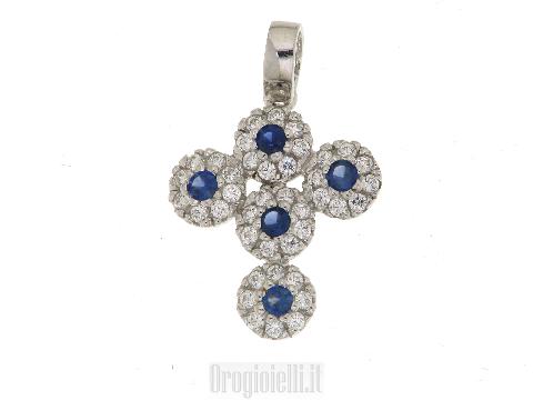 Ciondolo a croce con zirconi blu