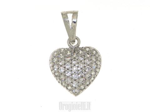 Gioielli amore oro bianco Ciondolo a cuore con zirconi San Valentino