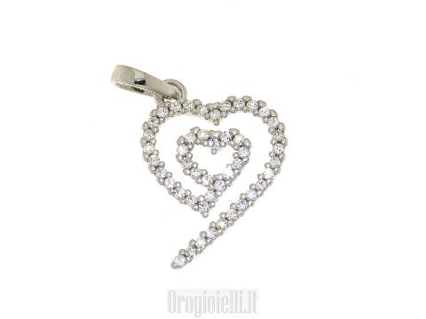 Gioiello FANTIN design stile moderno Ciondolo a cuore in oro bianco