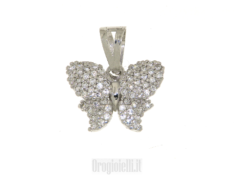 Ciondolo a farfalla in oro bianco