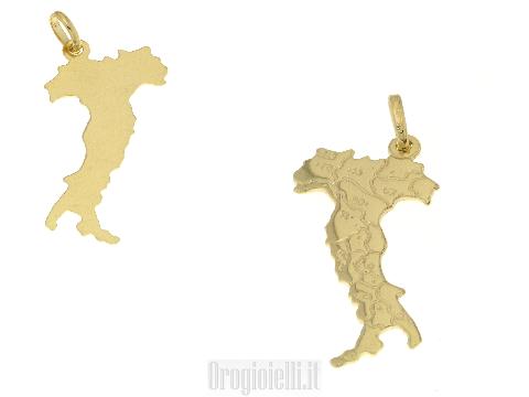 Ciondolo a forma di ITALIA in oro 18 kt