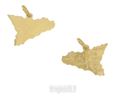 Ciondolo a forma di Sicilia in oro