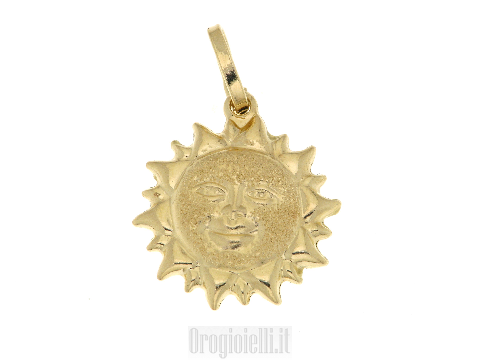Ciondolo a sole in oro giallo puntinato