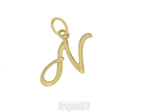 Ciondolo ad iniziale lettera N in oro