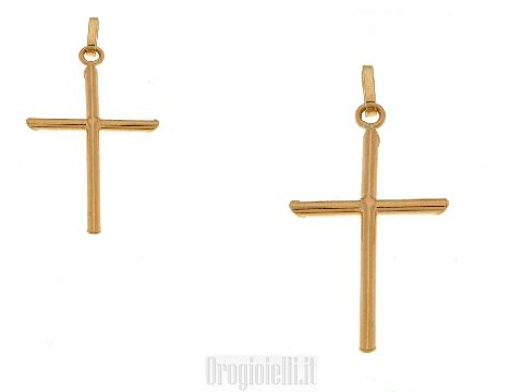 Ciondolo bambino per battesimo a forma di croce in oro giallo 18 kt