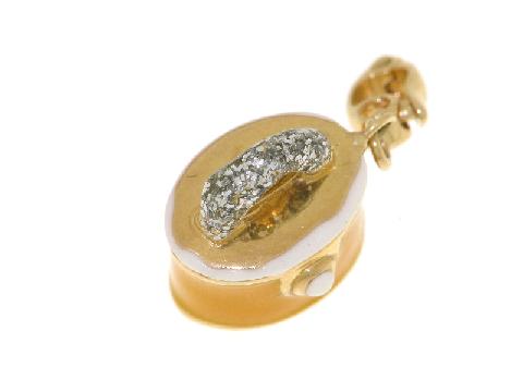 Ciondolo bauletto smaltato in oro 18kt